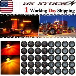 40x 3/4 Snap-in Truck Trailer Clearance Red Amber Led Side Marker Bullet Lights