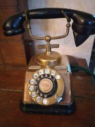1920 Antique Big Old Desk Rotary Dial Phone Telephone Brass