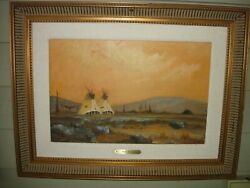 Bill Mittag, Plains Tribe Painting,teepee Western,listed Artist,oil Canvas,west