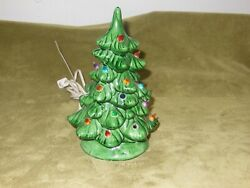 Vtg Ceramic Christmas Tree Small 9 Table Top Lighted