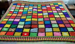 Hand Crocheted Afghan Blanket/throw61 X 63stained Glass Granny Square Pattrn
