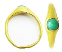 13th - 14th Century Medieval Gold And Turquoise Stirrup Ring