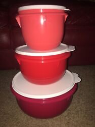 Tupperware New Red Mixing Bowl Set Of 3 Sml Med Large Bowls/seals Serving Store