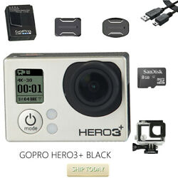 Used Gopro Hero 3+ Black 1080p 10mp Hd Video With Waterproof Case +8g Sd Card