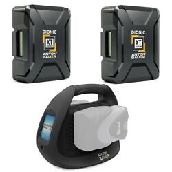 Anton Bauer 2x Dionic Xt90 99wh Gold Mount Li-ion Battery W/ab Perf Dual Charger