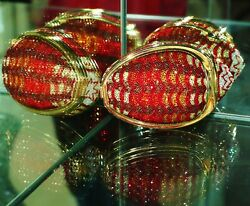 Judith Leiber Crystal Conch Sea Shell Minaudiere Clutch Gold Red Multi
