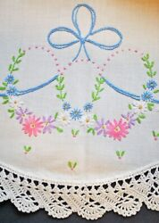 Vintage Pillowcases Embroidered Flowers With Ribbons + Bows Crochet Trim 1940's