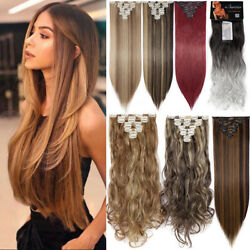 100 Real Natural Clip In Hair Extensions Full Head 8 Piece Set Long As Human Uk