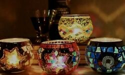 Stained Glass Moroccan Turkish Mosaic Candle Holder Table Decorations Globe