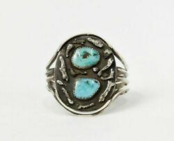 Navajo Sterling Silver Cuff Bracelet With Two Natural Turquoise Settings Ca 1976