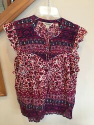 Lucky Brand Women's Blouse Top Short Sleeve Tie Front Boho Hippie Small