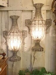 Pair Of 20th Century Antique Crystal Wall Sconces