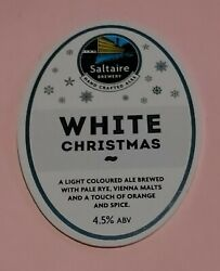 Saltaire Brewery White Christmas Light Ale Beer Pump Handle Badge 4.5 Ab Vienna