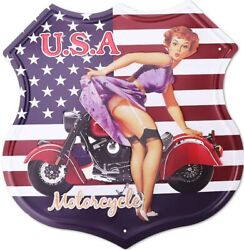 Route 66 Signs Metal Vintage U.s.a. Motorcycle Tin Sign For Home Decoration 12