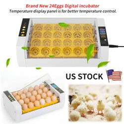 24Eggs Automatic Turning Incubator Hatcher Poultry Chicken Temperature Control