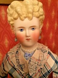 Antique Exquisite 26andrdquo Parian Lady With Molded Ribbon /neck Antique Body And Dress