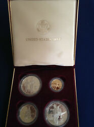 1995 Olympic 4 Coin Commemorative Proof Set 5 Gold 2 Silver Dollars E4764