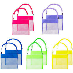 10 Pack Mesh Beach Bags with Adjustable Tote Straps in 5 Colors 9.5 x 8.9quot; $11.69