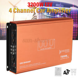 7800w Car 4 Channel Power Amplifier Stereo Audio Super Bass Subwoofer Amp 12v Us