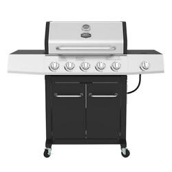 Outdoor Gas Grill 5-burner Propane Bbq Grill Stainless Steel With Wheels Black