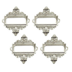 4pcs File Drawer Cabinet Card Holder Metal Lace Frame On Bookcases Silver