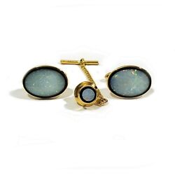 Db Solid 14k Yellow Gold Opal And Black Onyx Bullet Back Cufflinks And Tie Tack