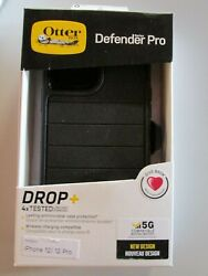 New Otter Box Defender Pro Drop + Black For Iphone 12 / 12 Pro Free Shipping