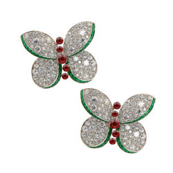 2.40ct Natural Round Diamond 14k Solid White Gold Emerald Ruby Butterfly Earring