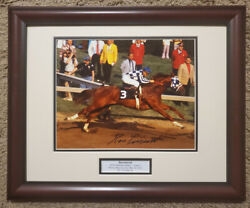 Secretariat 1977 Preakness Stakes Photo 8x10 Signed Framed Ron Turcotte