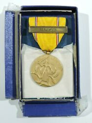 Wwii American Defense Medal With Base Clasp And Box