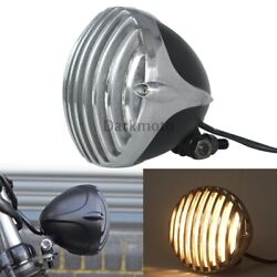 Retro Motorcycle Round Finned Grill Cover Headlight Fit For Harley Bobber Dyna