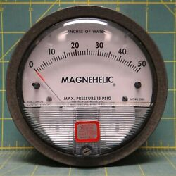 Dwyer Magnehelic 4 Differential Pressure Gauge 0-50 Inches Of Water Model 2050