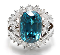 13.50 Carats Natural Blue Zircon And Diamond 14k Solid White Gold Ring