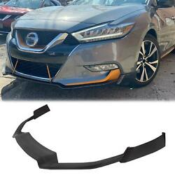 Fits For 16-17 Nissan Maxima Add-on Front Bumper Lip Spoiler Body Kit New Black
