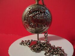 Remington Pocket Watch/ Elk On Front New Battery Installed/w Chain