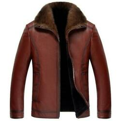 Mens Real Leather Business Formal Jackets Cashmere Lined Work Lapel Zip Casual L