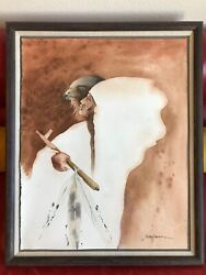 Bert Seabourn Original Watercolor Painting Keeper Of The Plains Frame 29 X 24