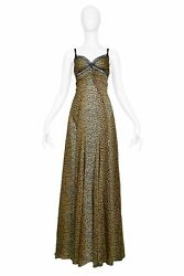 Vintage Dolce And Gabbana Dandg Leopard Gown With Train