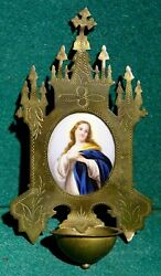 Antiq 19th Metal W/ Porcelain Medallion Holy Water Font 166mm - Virgin Mary