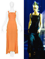 Vintage Versace Apricot Lace Runway Gown 1997 At Resurrection Vintage