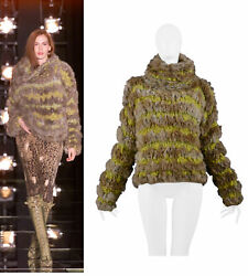 Vintage Dior By Galliano Oversize Knit And Rabbit Fur Sweater 2000