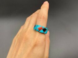 Vintage Southwestern Sterling Silver Turquoise Coral Jet Ring Size 8.25