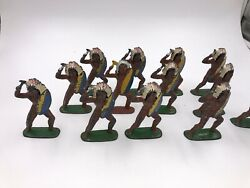 13- Barclay Indian Chiefs With 70mm Vgc Shield And Tomahawk Dime Store Figure