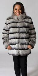 Clearance Reversible Rex Rabbit Fur With Silver Fox Reverse To Leather- Size M