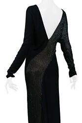 Vintage Halston Black Beaded Evening Gown W Sheer Panels | C. Late 1970s