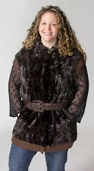 Clearance Black And Brown Sheared Mink Fur Animal Print Hooded Vest- Sz 12-14