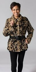 Clearance Brown And Beige Mosaic Mink Fur Sections Jacket Andndash Size M