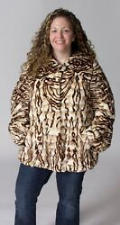 Clearance Brown And Beige Mosaic Sheared Mink Fur Sections Hooded Parka- Size 12