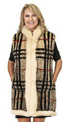 Clearance Plaid Tartan Knitted Mink Fur Vest With Camel Fox Trim Andndash Size 12-14