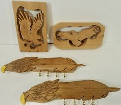 Lot Of 4 Country Style Folk Art Eagle Wood Carvings Plaques And Key Hangers